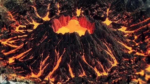 Skaeren volcano throwing magma into the air.