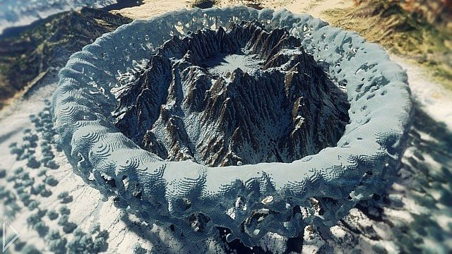 Winimo volcano surrounded by frozen water.