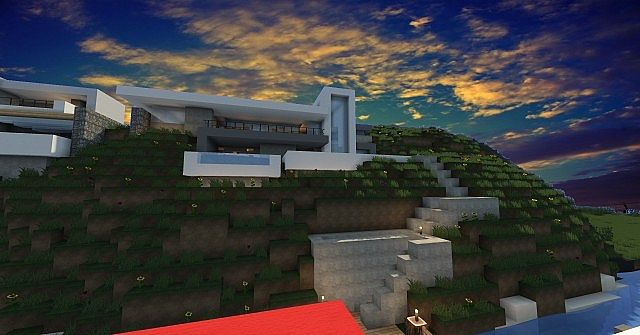 Modern hillside House Minecraft Project