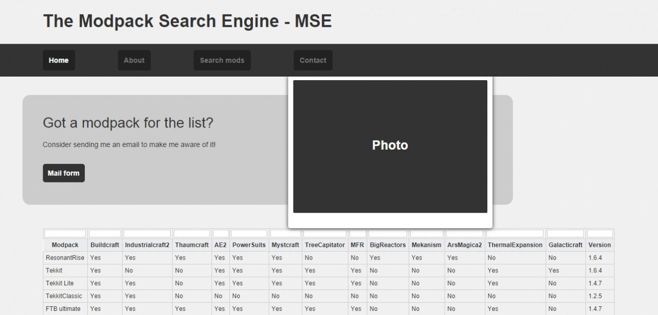 MSE - The Modpack Search Engine BETA Minecraft Mod