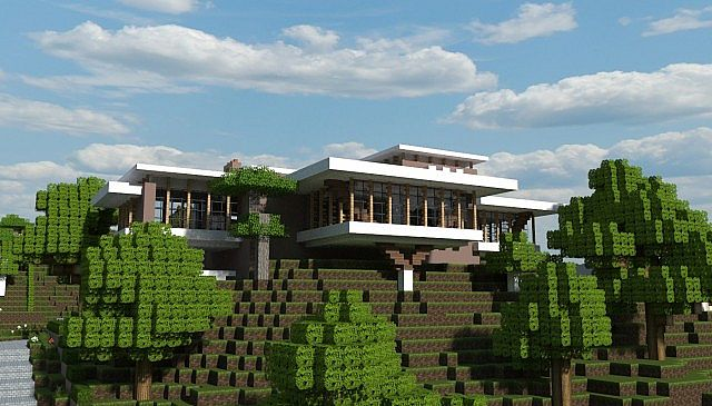 Contemporary house maison contemporaine minecraft project for Photo maison contemporaine