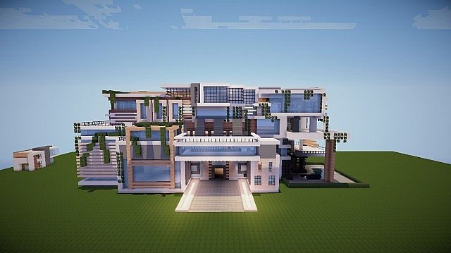 Huge modern mansion no interior yet minecraft project for Big modern mansions
