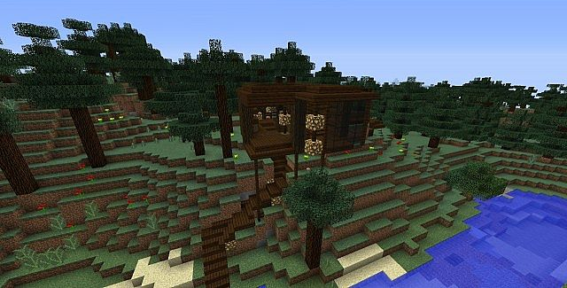 Minecraft Oak Wood ~ Hillside dark oak wood house minecraft project