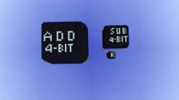 4-bit addition (V3) and subtraction(V2) module + Bonus randomness module (V1) Minecraft Project