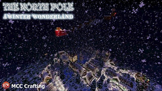 The North Pole Birds Eye View, Santas Sleigh. Reindeer  Rudolph The Red Nose Reindeer, A Winter Wonder Land, Minecraft PS3 Christmas World
