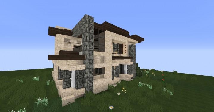 Modern house maison moderne minecraft project for Minecraft maison moderne