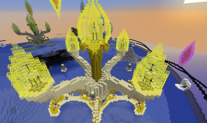 The Isle of Sky. Each of the upper arms of the team islands contains a block of wool of that teams color. If a team loses all four, its eliminated. The first team to place a gold block on the pedestal in the center bulb wins.