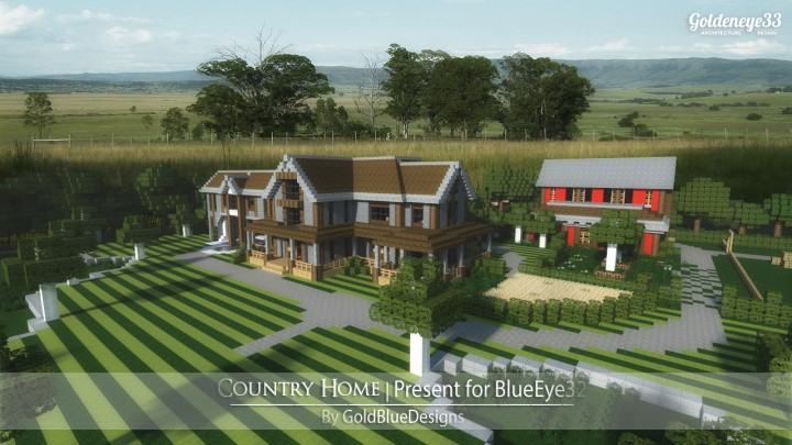 Country home ranch house by goldeneye33 minecraft for Minecraft big modern house schematic