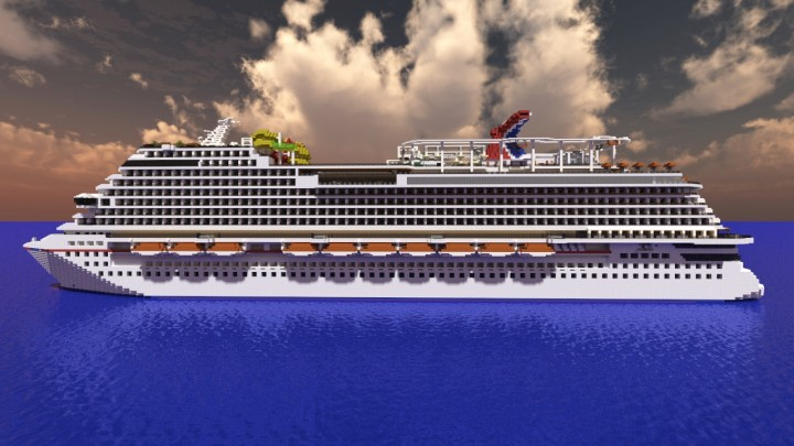 Minecrafts St Carnival Vista Cruise Ship Scale Minecraft - Port side of a cruise ship