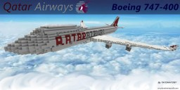 Boeing 747-400 with Qatar Airways Livery Minecraft Map & Project