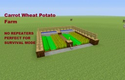 Tutorial: Automatic Wheat, Carrot, Potato Farm + NO REPEATERS + Survival Mode Minecraft Project