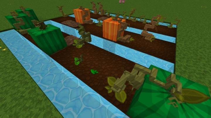 Advanced 3D Model for Pumpkins and Melons stem - requires PureBDcraft Addon More 3D Blocks
