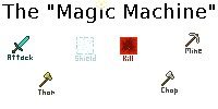 [ Magic Machine ] - A machine that takes items you have in your hand and uses them. Powers include: Attack - Thor - Shield - Chop - Mine - [ No Mods ] Minecraft Map & Project