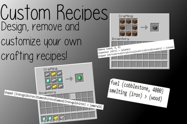Custom Recipes , Make and customize your own crafting