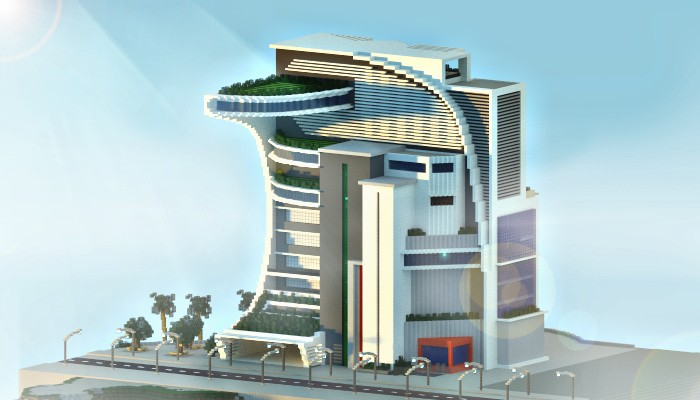 Modern futuristic building minecraft project for Modern tower house designs