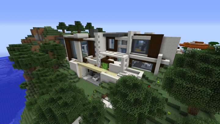 Windows and android free downloads minecraft modern for Minecraft big modern house tour