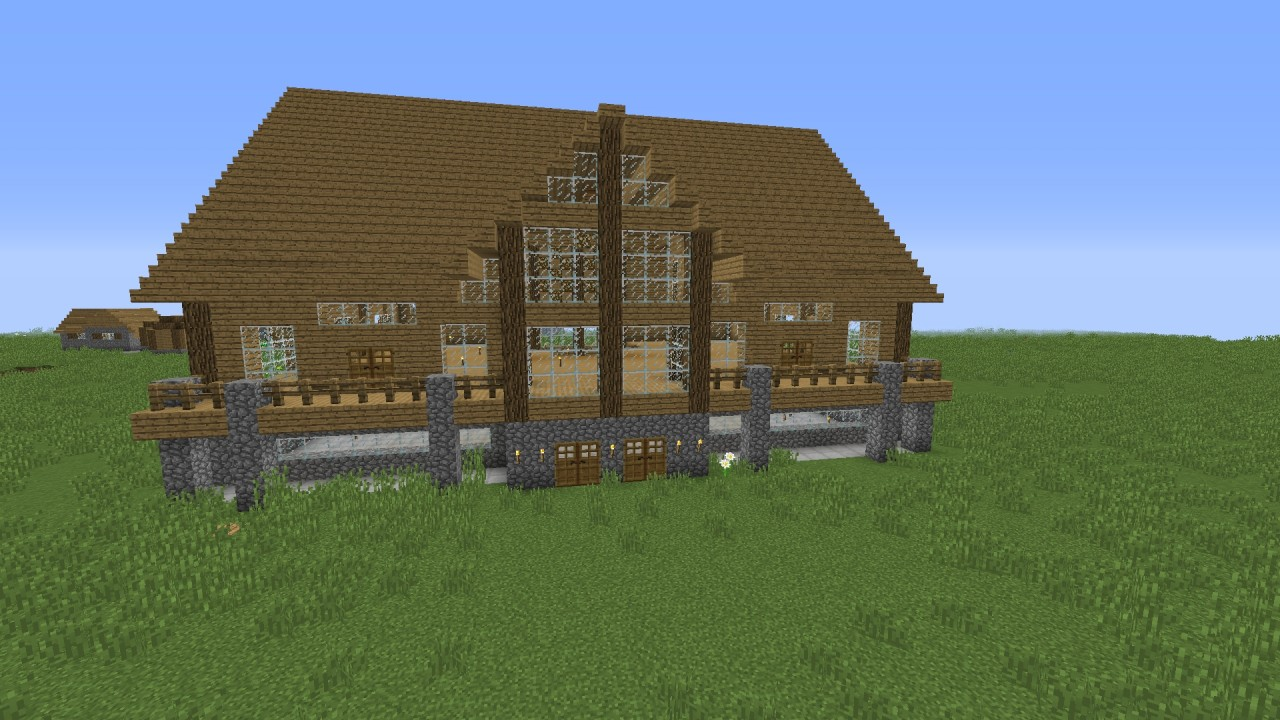 An Advanced Wooden House Mansion Minecraft Project