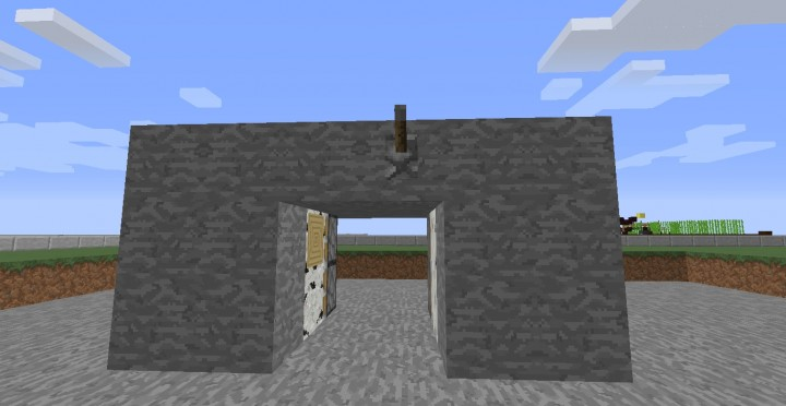how to make a sticky piston door with lever