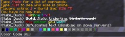 [1.10.2][1.11][Forge] Color Code GUI (colored + rainbow text, Unicode symbols in Minecraft!)