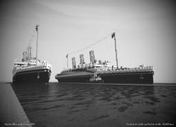 Werft auf dem Rhein. Ocean liners Friedrich der Große und Karl der Große