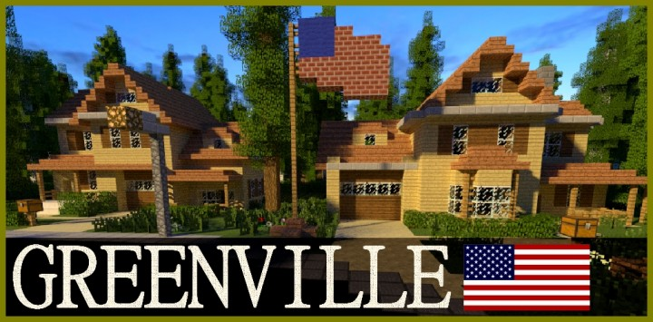 GREENVILLE idyllic village for download Map Schematics Minecraft