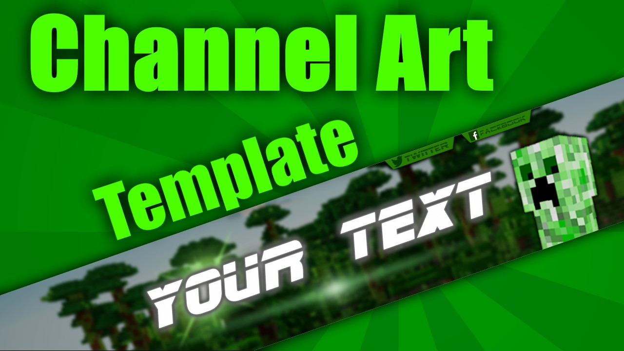 Charming Minecraft Channel Art Template