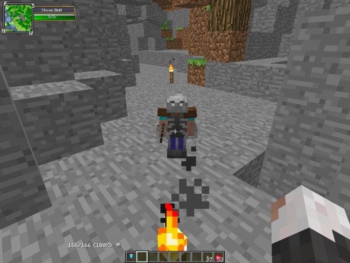 Steve  can equip modded armor and weapons!