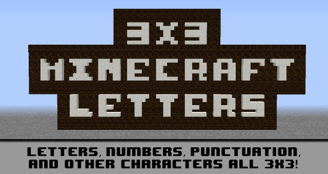 numbers in letters 3x3 text minecraft project 1512