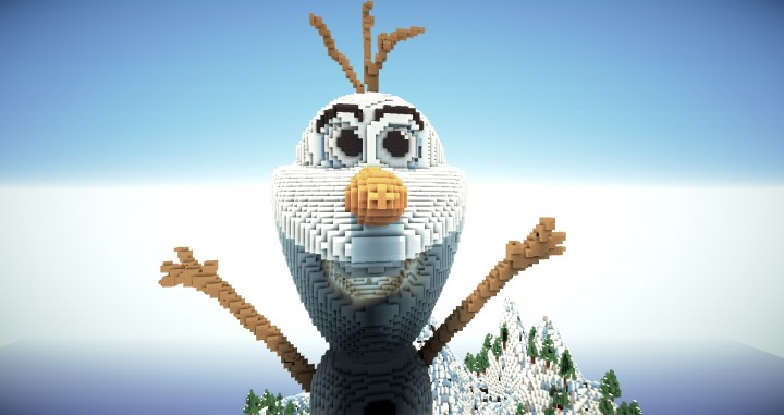 how to build olaf the snowman in minecraft