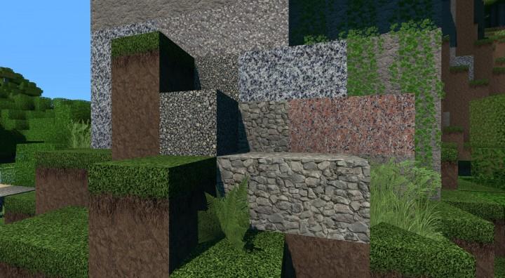 Dirt, Gravel, Stone, Granite, Diorite, Andesite, Cobblestone, Vines, Fern