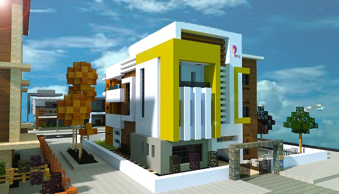 Yellow box modern town house minecraft project for Modern yellow houses