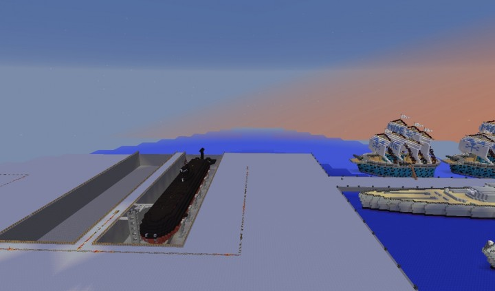 Drydocks with the Akula and nearby is a One Piece Battleship