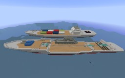 WW2 Aircraft Carrier And Modern Freighter Minecraft Map & Project