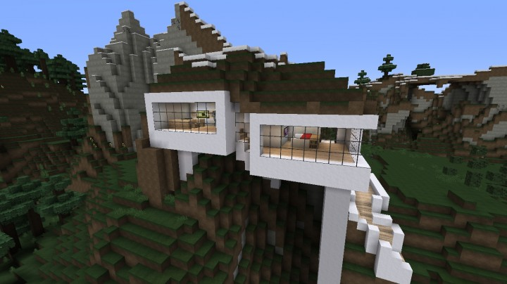 Modern Mountain Survival Home Minecraft Map