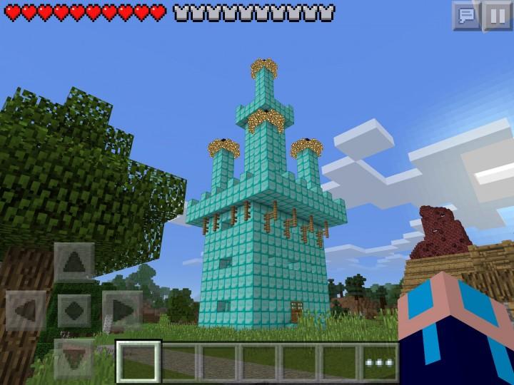 Minecraft PE Huge Diamond Castle IN SURVIVAL Project