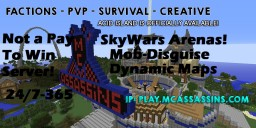SkyWars ~ MineCraft Assassins Factions PvP ~ Acid-Island  ~ Raiding ~ Slime Fun~ Griefing ~ 24/7 ~ /Vote For Diamonds, Reward Crate Keys And $500.00 Cash Daily ~ mcMMO ~ JOIN IP: play.mcassassins.com Minecraft Server