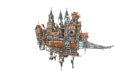 Flying Steampunk City / Ship