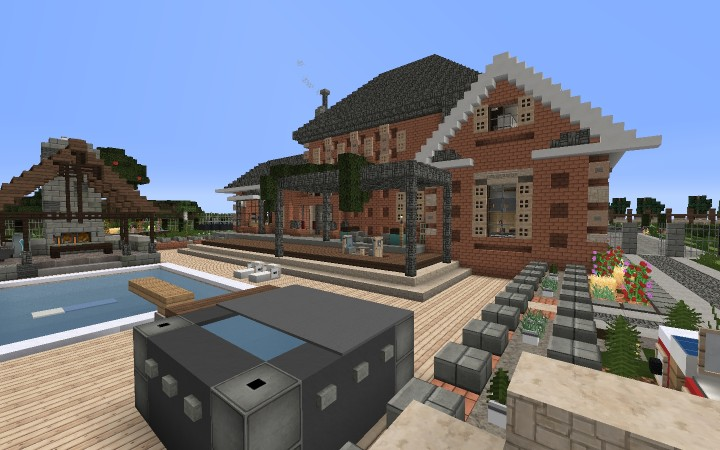 Large Suburban House Minecraft Project - Minecraft house map
