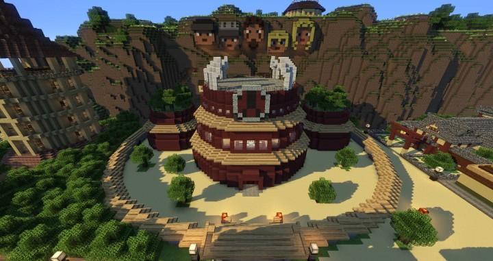 Naruto Map | Konoha- and Sunagakure | 1 8 x Minecraft Project