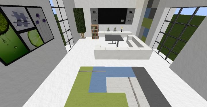Modern living room and kitchen design minecraft project for Modern living room minecraft
