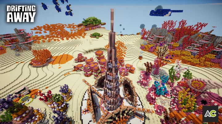 The center spire of the fantasy underwater town