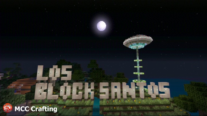 UFO ALIEN INVASION LBS CITY  the BIG Los Block Santos Sign.