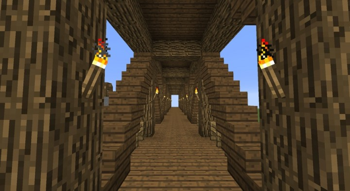 Covered Wood Bridge 47 Tiles Long Minecraft Project