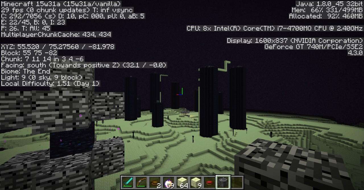 First minecraft 1 9 snapshot with weird end portal block Minecraft Blog