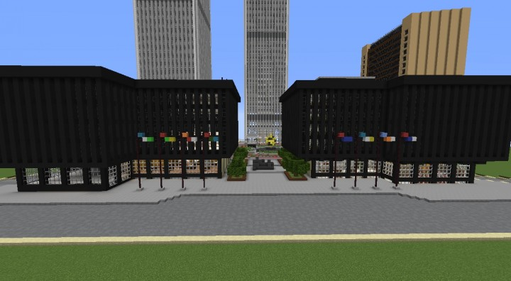 View from in front of World Trade Center 4 and 5, features plaza in the background with Twin Towers.