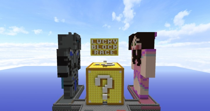 Lucky block race made for popularmmos and supergirlygamer pat and jen