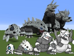 Giant Aron, Lairon, Aggron and Mega Aggron