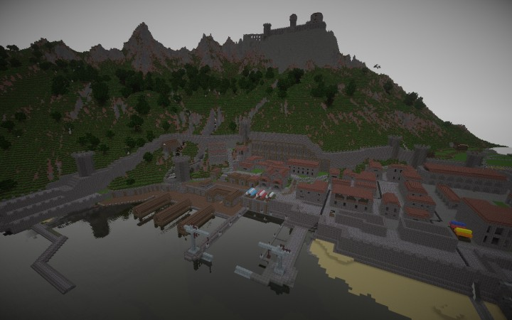 town with new dock and buildings and castle on top of hill