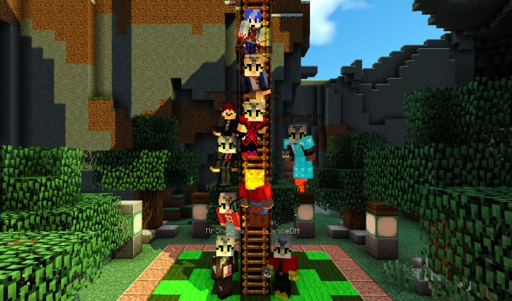 King of the Ladder group picture with kitty heads