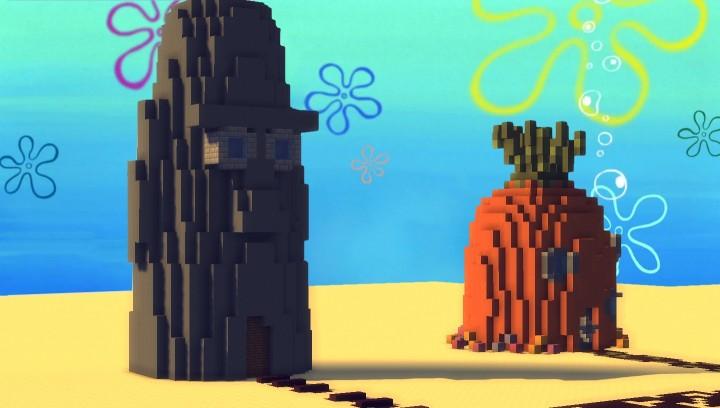 Карта Спанч Боб и его город Бикини Боттом для Майнкрафт